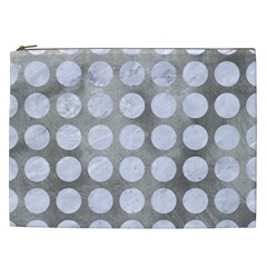 Circles1 White Marble & Silver Paint Cosmetic Bag (xxl)  by trendistuff