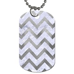 Chevron9 White Marble & Silver Paint (r) Dog Tag (two Sides) by trendistuff