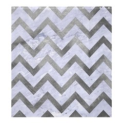 Chevron9 White Marble & Silver Paint (r) Shower Curtain 66  X 72  (large)
