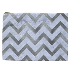 Chevron9 White Marble & Silver Paint (r) Cosmetic Bag (xxl)  by trendistuff