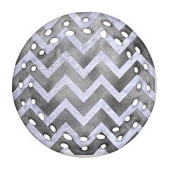 Chevron9 White Marble & Silver Paint Ornament (round Filigree) by trendistuff