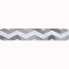 Chevron3 White Marble & Silver Paint Small Bar Mats