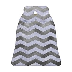 Chevron3 White Marble & Silver Paint Bell Ornament (two Sides) by trendistuff