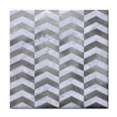 Chevron2 White Marble & Silver Paint Face Towel by trendistuff