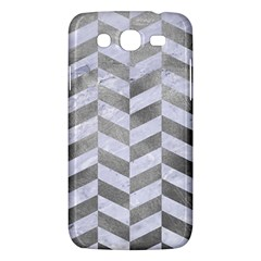 Chevron1 White Marble & Silver Paint Samsung Galaxy Mega 5 8 I9152 Hardshell Case  by trendistuff