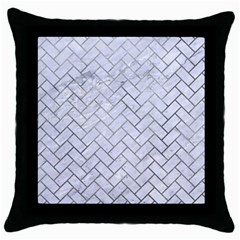 Brick2 White Marble & Silver Paint (r) Throw Pillow Case (black) by trendistuff