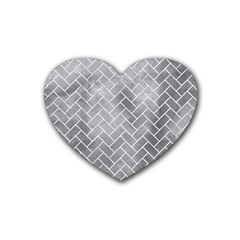 Brick2 White Marble & Silver Paint Rubber Coaster (heart)  by trendistuff