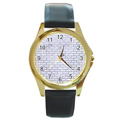 Brick1 White Marble & Silver Paint (r) Round Gold Metal Watch by trendistuff