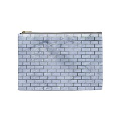 Brick1 White Marble & Silver Paint (r) Cosmetic Bag (medium)  by trendistuff