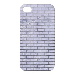 Brick1 White Marble & Silver Paint (r) Apple Iphone 4/4s Hardshell Case by trendistuff