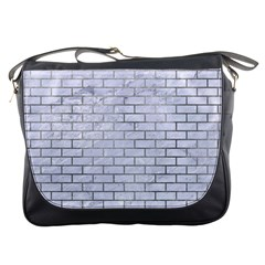 Brick1 White Marble & Silver Paint (r) Messenger Bags by trendistuff