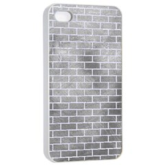 Brick1 White Marble & Silver Paint Apple Iphone 4/4s Seamless Case (white) by trendistuff
