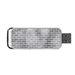 Brick1 White Marble & Silver Paint Portable Usb Flash (two Sides) by trendistuff