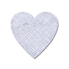 Woven2 White Marble & Silver Glitter (r) Heart Magnet by trendistuff