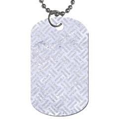 Woven2 White Marble & Silver Glitter (r) Dog Tag (two Sides) by trendistuff