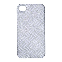 Woven2 White Marble & Silver Glitter Apple Iphone 4/4s Hardshell Case With Stand by trendistuff