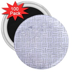 Woven1 White Marble & Silver Glitter (r) 3  Magnets (100 Pack) by trendistuff