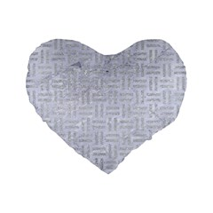 Woven1 White Marble & Silver Glitter (r) Standard 16  Premium Flano Heart Shape Cushions by trendistuff
