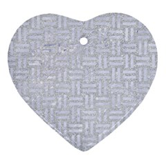 Woven1 White Marble & Silver Glitter Heart Ornament (two Sides) by trendistuff