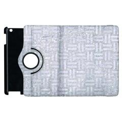 Woven1 White Marble & Silver Glitter Apple Ipad 2 Flip 360 Case by trendistuff