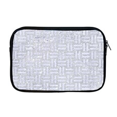 Woven1 White Marble & Silver Glitter Apple Macbook Pro 17  Zipper Case by trendistuff