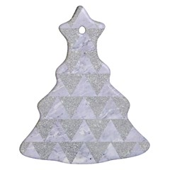 Triangle2 White Marble & Silver Glitter Ornament (christmas Tree)