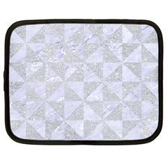 Triangle1 White Marble & Silver Glitter Netbook Case (xl)  by trendistuff