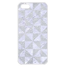Triangle1 White Marble & Silver Glitter Apple Iphone 5 Seamless Case (white) by trendistuff