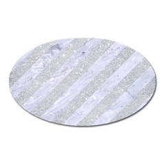 Stripes3 White Marble & Silver Glitter (r) Oval Magnet by trendistuff