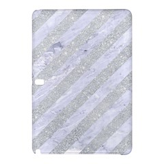 Stripes3 White Marble & Silver Glitter (r) Samsung Galaxy Tab Pro 12 2 Hardshell Case