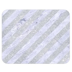 Stripes3 White Marble & Silver Glitter (r) Double Sided Flano Blanket (medium)