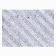 Stripes3 White Marble & Silver Glitter Large Glasses Cloth by trendistuff