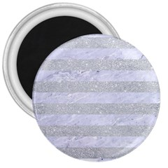 Stripes2white Marble & Silver Glitter 3  Magnets by trendistuff