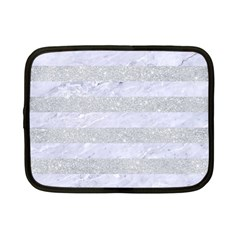 Stripes2white Marble & Silver Glitter Netbook Case (small)  by trendistuff