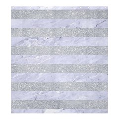 Stripes2white Marble & Silver Glitter Shower Curtain 66  X 72  (large)