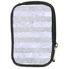 Stripes2white Marble & Silver Glitter Compact Camera Cases by trendistuff