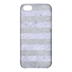 Stripes2white Marble & Silver Glitter Apple Iphone 5c Hardshell Case