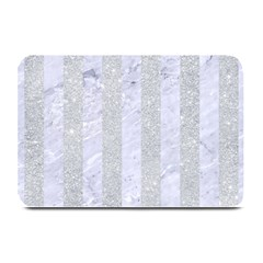 Stripes1 White Marble & Silver Glitter Plate Mats by trendistuff