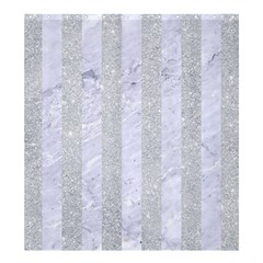 Stripes1 White Marble & Silver Glitter Shower Curtain 66  X 72  (large)