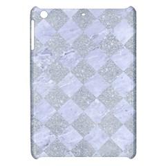 Square2 White Marble & Silver Glitter Apple Ipad Mini Hardshell Case by trendistuff