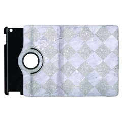 Square2 White Marble & Silver Glitter Apple Ipad 2 Flip 360 Case by trendistuff