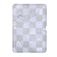 Square1 White Marble & Silver Glitter Samsung Galaxy Tab 2 (10 1 ) P5100 Hardshell Case  by trendistuff