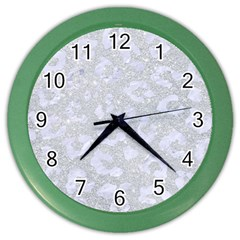 Skin5 White Marble & Silver Glitter (r) Color Wall Clocks