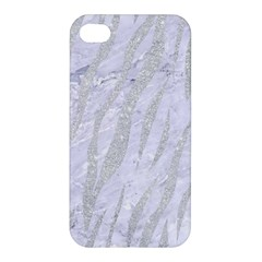 Skin3 White Marble & Silver Glitter (r) Apple Iphone 4/4s Hardshell Case by trendistuff