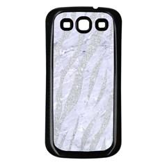 Skin3 White Marble & Silver Glitter (r) Samsung Galaxy S3 Back Case (black) by trendistuff