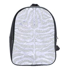 Skin2 White Marble & Silver Glitter School Bag (large) by trendistuff
