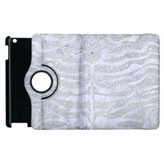Skin2 White Marble & Silver Glitter Apple Ipad 2 Flip 360 Case by trendistuff