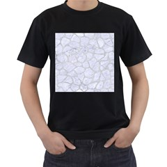 Skin1 White Marble & Silver Glitter Men s T Shirt (black) (two Sided) by trendistuff