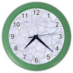 Skin1 White Marble & Silver Glitter Color Wall Clocks