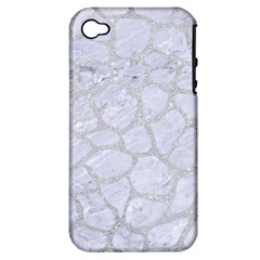 Skin1 White Marble & Silver Glitter Apple Iphone 4/4s Hardshell Case (pc+silicone) by trendistuff